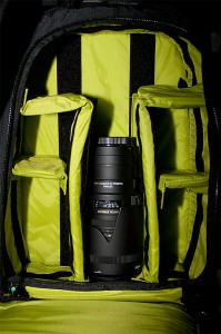 leuchtende Polsterung des Dakine Fotorucksacks