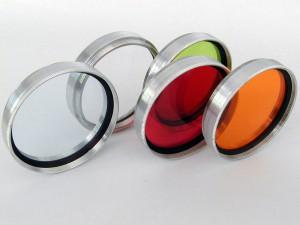 Transparente Fotofilter in Rot Grün und Organg